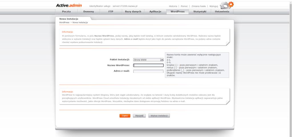 Jak dodać instalację WordPressa w panelu nazwa.pl2 Ola Dąbrowa