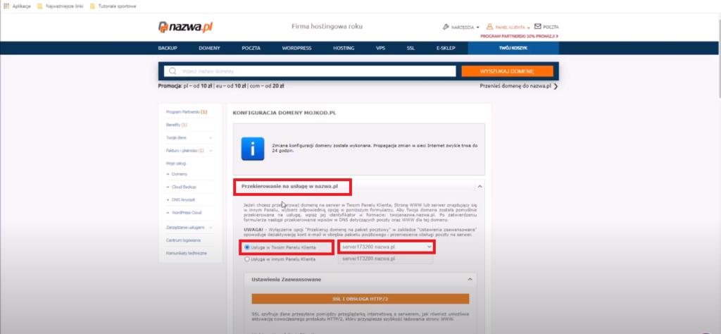 Jak przekierować domenę na hosting WordPress Cloud w nazwa.pl 2 Ola Dąbrowa